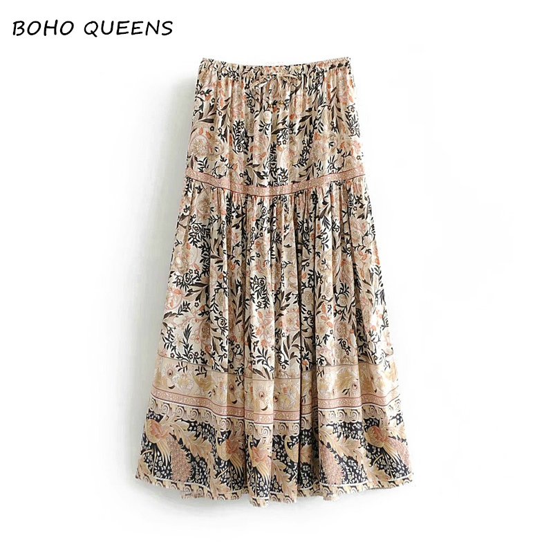 Vintage chic fashion Hippie women beach Bohemian purple floral print skirt High Elastic Waist A-Line Boho Maxi Skirt Femme