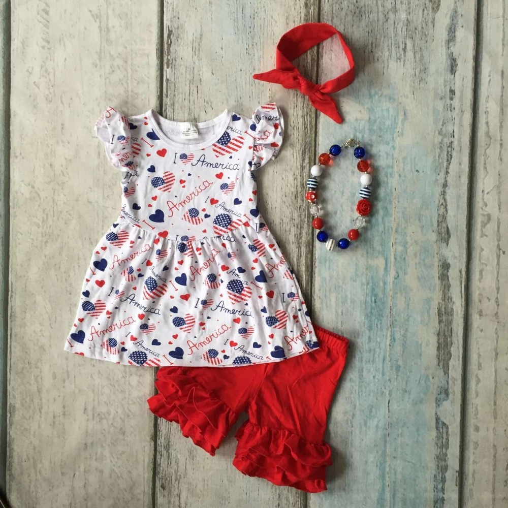 baby girls Summer spring clothing girls I love Amweican boutique outfits girls July 4th clothing with headband and necklace baby kids baseball season clothes baby girls love baseball clothing girls summer boutique baseball outfits with accessories