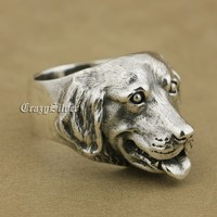 925 Sterling Silver Golden Retriever Cute Dog Charms Ring TA32A US 7~15