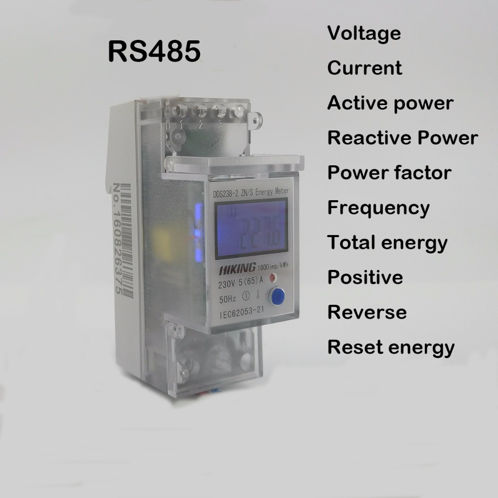 5(65)A 230V 50HZ voltage current DDS238-2 ZN/S single phase Din rail KWH Watt hour energy meter with RS485 MODBUS-RUT 1 5 65a 120vac 60hz single phase din rail kilowatt led hour kwh meter ce proved