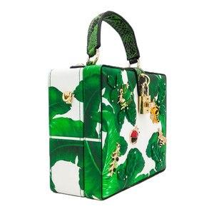 Image 3 - כפול פרח ירוק בננה עלה קטן חרקים נשים Tote תיק כתף תיקי Crossbody שקיות גבירותיי מזדמן תיבת מצמד תיק