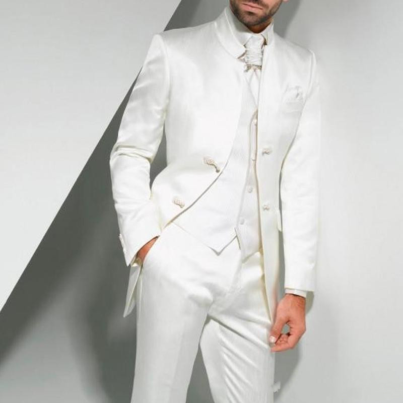 Vintage Long White Long Wedding Tuxedos For Groom 2018 Three Piece Custom Made Formal Men Suits (Jacket + Pants + Vest) Terno