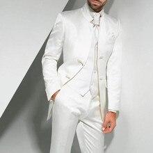 Esmoquin de boda largo blanco Vintage para el novio 2018 trajes formales para hombres de tres piezas hechos a medida (chaqueta + Pantalones + chaleco) terno