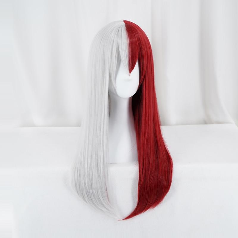 Meu herói academia todoroki shoto mulher sexo peruca longa cosplay traje boku nenhum herói academia perucas de cabelo vermelho e branco