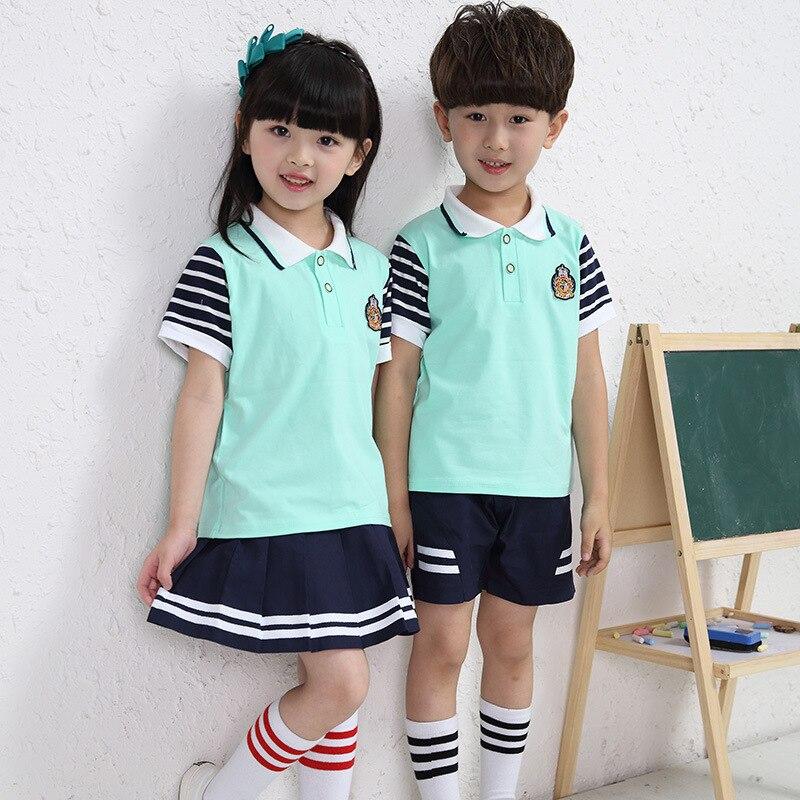 2017 Kindergarten childrens clothing childrens summer sports suit primary school uniforms in large childrens uniforms