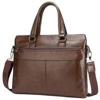 Larger Capacity Men Handbag Casual PU Leather Zipper Men Shoulder Bag Laptop 15 Inches Length Business Briefcases Bags Brand