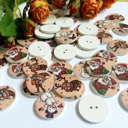 50pcs/pack Christmas series Wood Decorative Button Scrapbooking Round At Random 2 Holes Pattern 25mm DIY Handmade Accessories