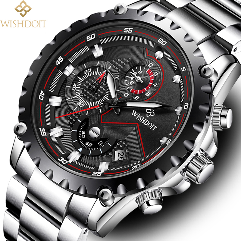 WISHDOIT Mens Watch men Sport Quartz Wristwatch Waterproof Shockproof Steel Band Black Army Male watches Clock Relogio Masculino onlyou men s watch women unique fashion leisure quartz watches band brown watch male clock ladies dress wristwatch black men