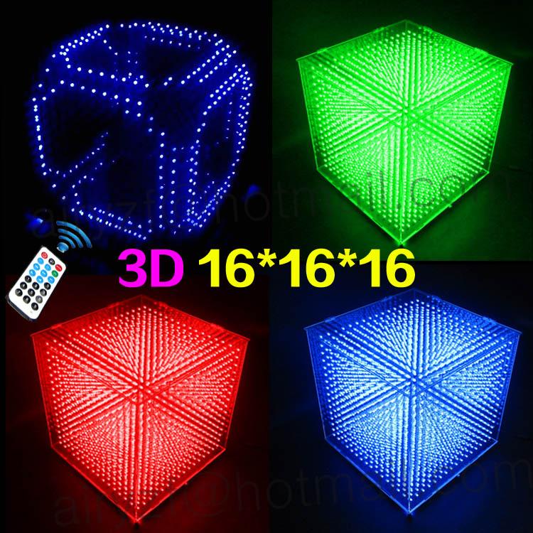 Prix pour DIY 3D 16 S LED Lumière Cubes Avec Des Effets D'animation/3D CUBES 16 16x16x16 3D LED/Kits/Junior, 3D LED Affichage, Cadeau De Noël