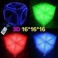 DIY 3D 16 S LEVOU Cubos de Luz Com Efeitos de Animação/CUBOS 3D 16 16x16x16 3D LED/Kits/Júnior, Display LED 3D, Presente de Natal