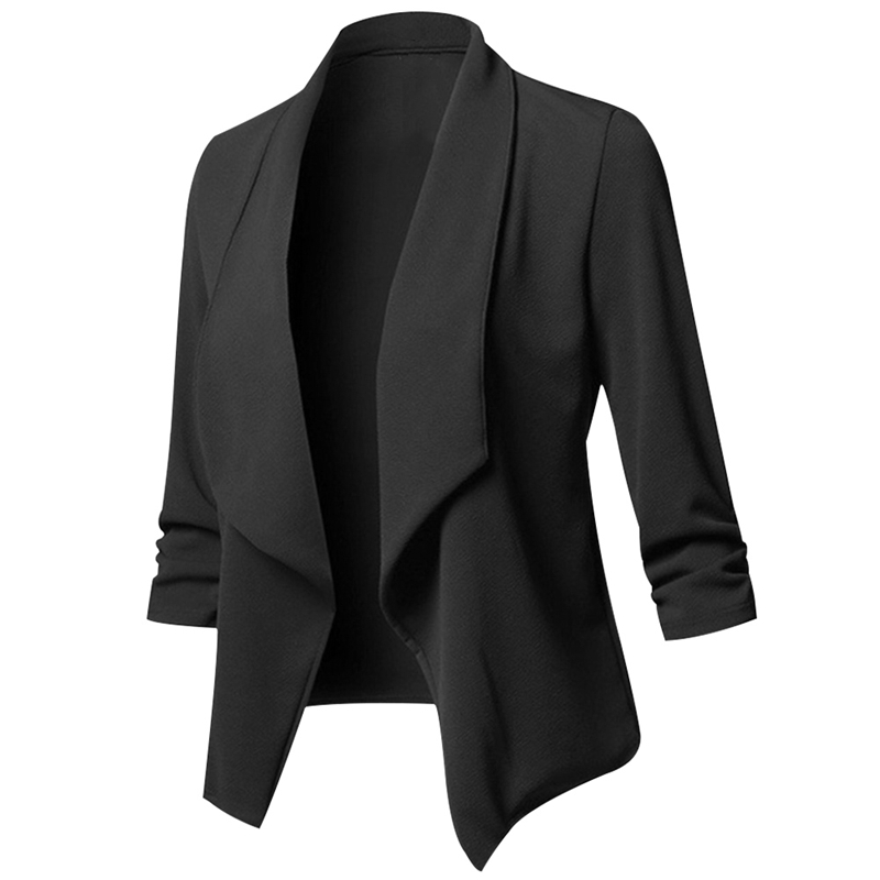 NEW Basic Solid Color Fashion Women 34 Sleeve None Button Woman Slim Short Suit Jacket