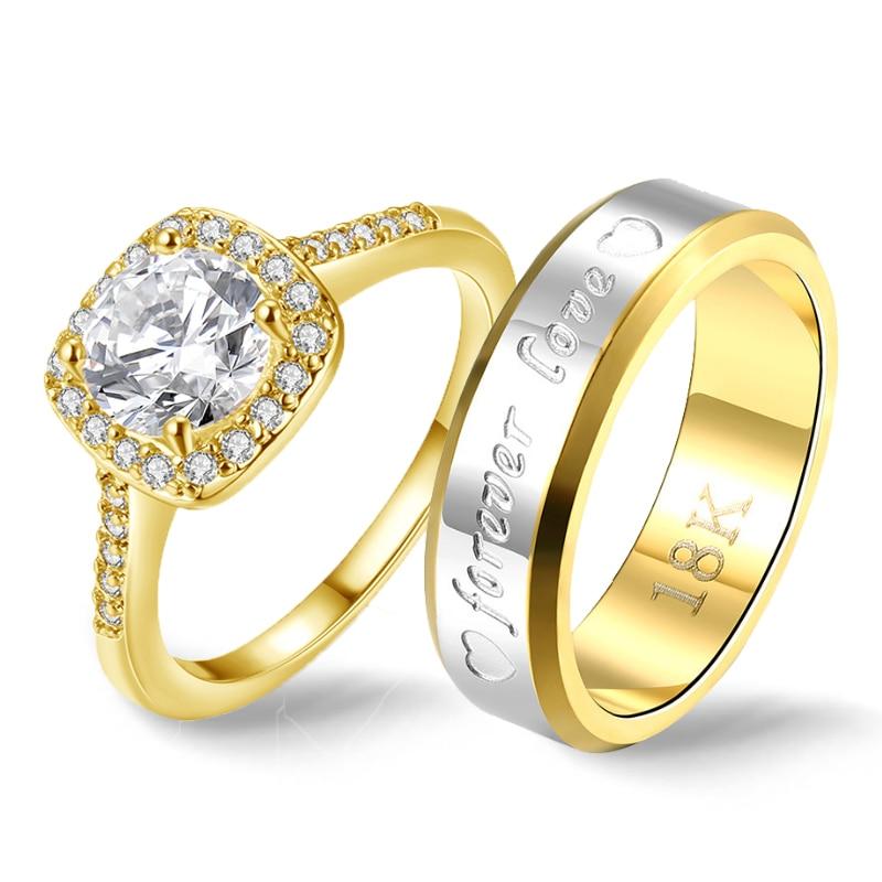 Квадратные золотые кольца для пар, медное кольцо из нержавеющей стали для мужчин, кольцо с надписью Forever Love, Властелин колец 2019, античное кольцо