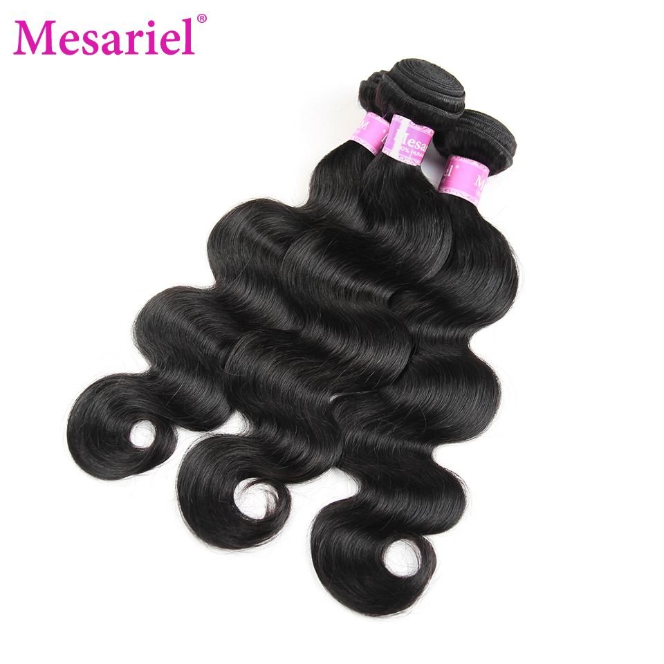 Mesariel Peruvian Hair Body Wave 3 Bundles Non-Remy Weave Human Hair Bundles 8-30inch Peruvian Body Wave Natural Color