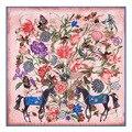 [Lesida] 2017 Nova Flor Padrão Cavalo Um Lenço De Seda Sarja Xales E Lenços Para As Mulheres Cachecol Echarpe sjaal de luxe Femme 13081