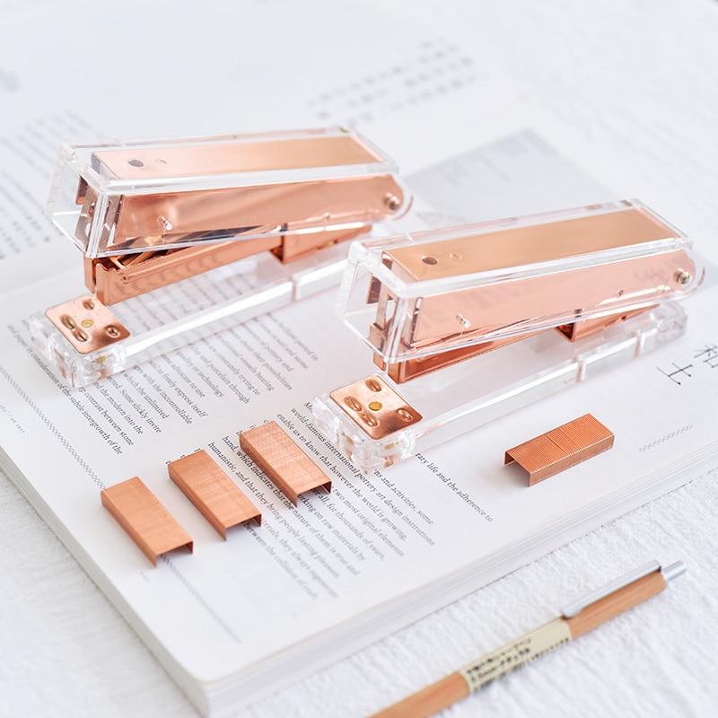 JIANWU Creative rose gold Stapler Office girl stationery Business affairs Stapler Contains 1000pcs staples hot stapler smart repair replacement staples kit hs 013xf