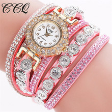 CCQ New Arrival 2017 Women Fashion Casual Analog Quartz Women Rhinestone Watch Bracelet Watch Gift Creative