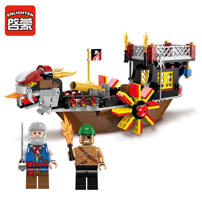 345pcs Enlighten building blocks Pirate ship model compatible with Lego spoofing child education mini toy brick boy gift lepin 22001 pirate ship imperial warships model building block briks toys gift 1717pcs compatible legoed 10210