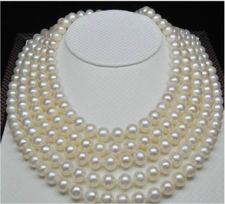 rare real 9-10mm natural south seas white pearl necklace 100 inch цена