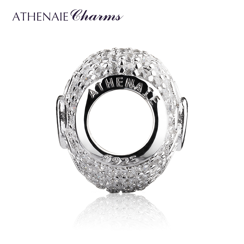 Image 2 - ATHENAIE 925 Sterling Silver with Pave Clear CZ & Pink CZ Heart Blooms Bead Charms  Fit European Bracelets & Bangles-in Beads from Jewelry & Accessories