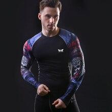 Мускулистые Мужчины Сжатия Tight Skin Рубашка С Длинными Рукавами 3D Печать ММА Rashguard Фитнес Базовый Слой Атлетический Мужчины Топы Носить