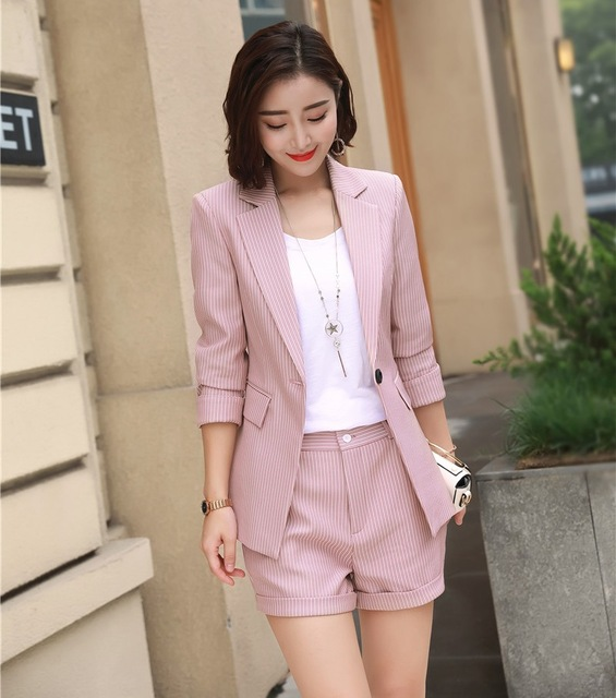 1f618b32ca0 Fashion Formal Ladies Pink Striped Blazer Women Business Suits Shorts and Jacket  Sets Work Wear Office Uniform Styles