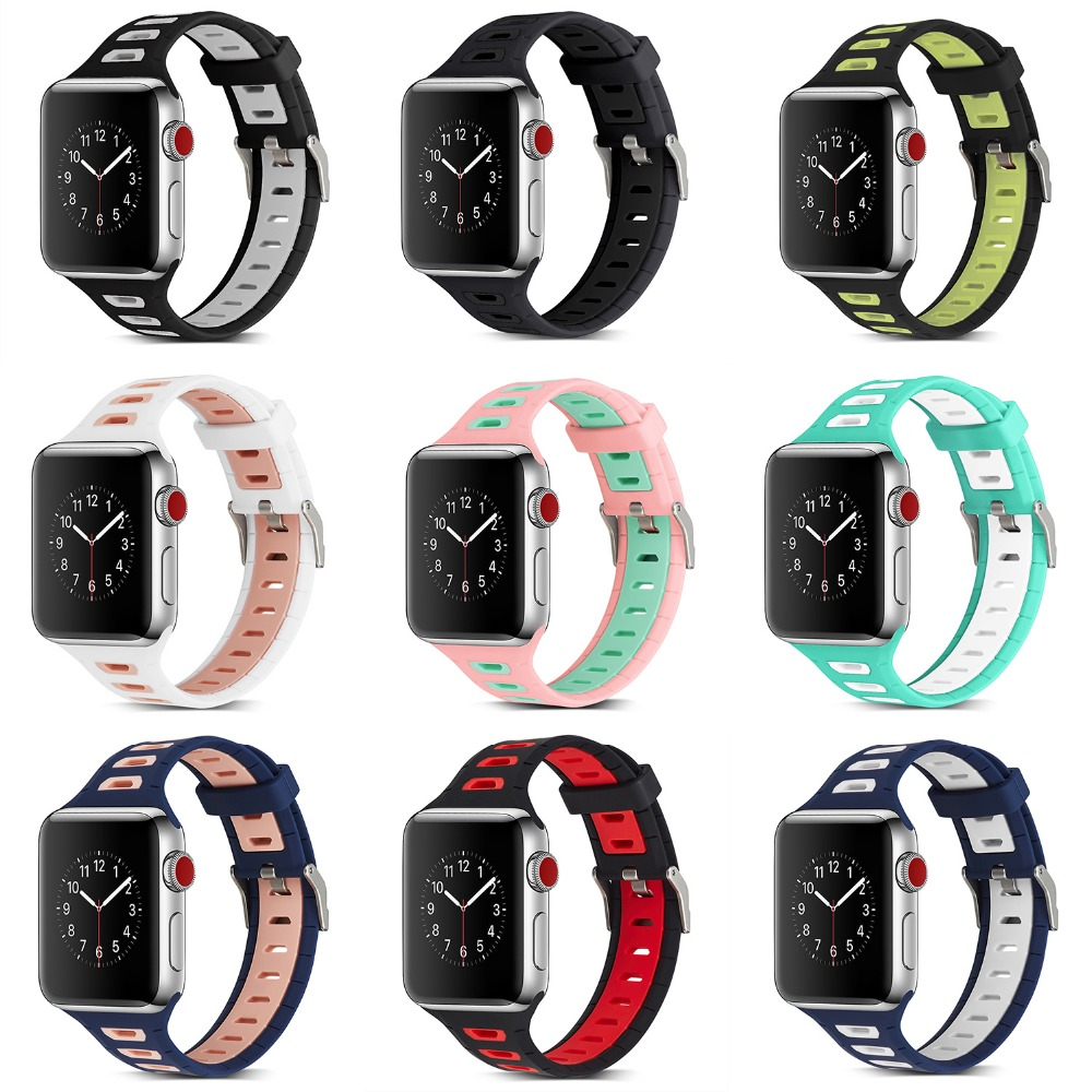 2018 Fashion Sport Silicone Band for Apple Watch 38mm 42mm Band Sport Silicone Watchband for Iwatch Strap Series 1 2 3 Two-color
