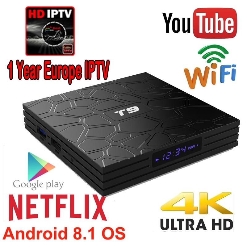 1 an Iptv pour l'europe T9 Android tv box RK3318 Quad-Core 4GB 64GB avec Bluetooth wifi 3D 4K Google Player Store Netflix Youtube