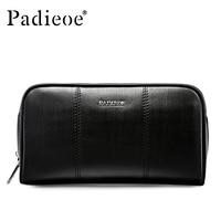 Padieoe 2018 Designer Men Genuine Leather Long Zipper Wallet Card Holder Male Clutch Wallet Purse For Phone Money Wallet Black
