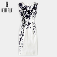 Geller Fuuk 2017 New Summer Women Dress Sleeveless Work Style Sheath Knee-Length Print Pack Hip Party Dresses O-Neck #A804