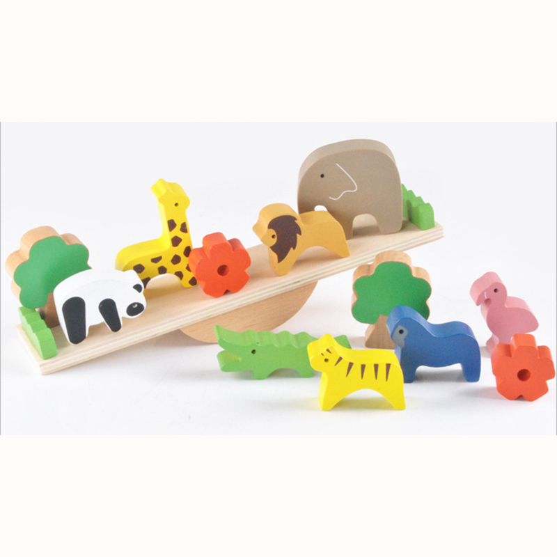 13Pcs/Set Animal Shape seesaw Balancing Toy Building Blocks Children Early Learning Balance Training Toy Wood Educational Toys pizza balance game pile up balancing desktop toy pretend play food small family plastic building blocks toys for children