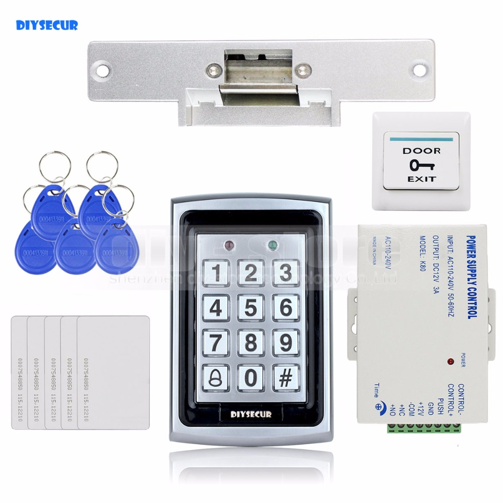 DIYSECUR 125KHz RFID Keypad Door Access Control Security System Kit + Electric Strike Lock + Exit Button For Home / Office 7612 diysecur 280kg magnetic lock 125khz rfid password keypad access control system security kit exit button k2