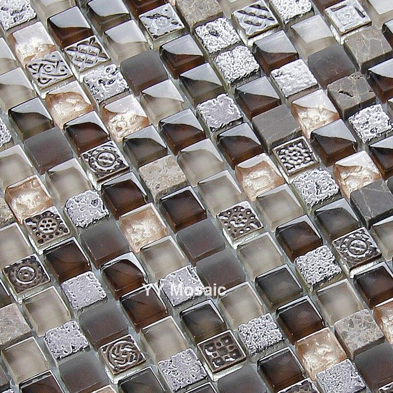 US $219.99 |Resina dell\'annata Brwon Bianco Mosaico di Vetro Piastrelle,  Cucina/TV/Bagno Sfondo camino arredamento, Casa di arte del Vetro ...