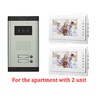 Apartment Wired Video Door Phone Audio Visual Intercom Entry System Outdoor Camera With 2 Monitor