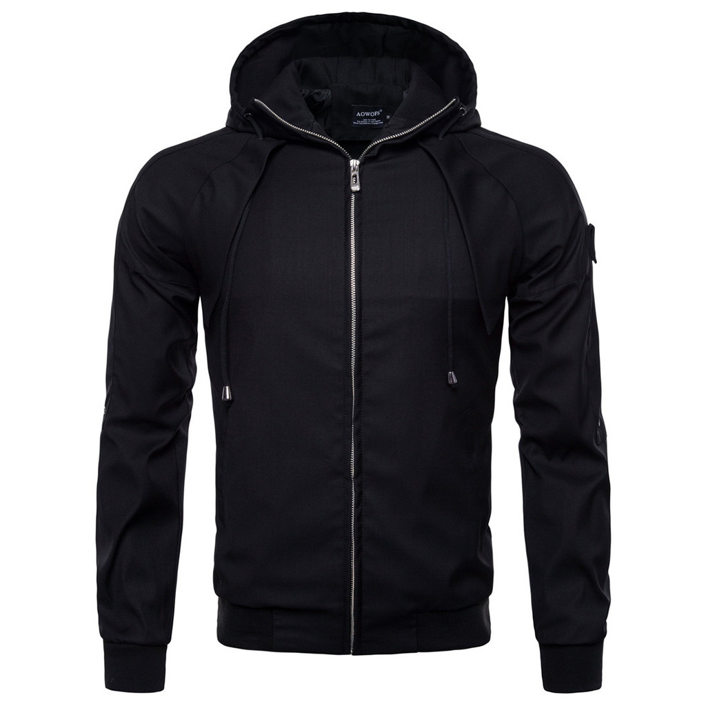 2018 Herbst Winter Herren Jacke Mantel Casual Tasche Thermische Jacke Top Mantel Solide Zipper Männliche Mit Kapuze Jacke Mantel