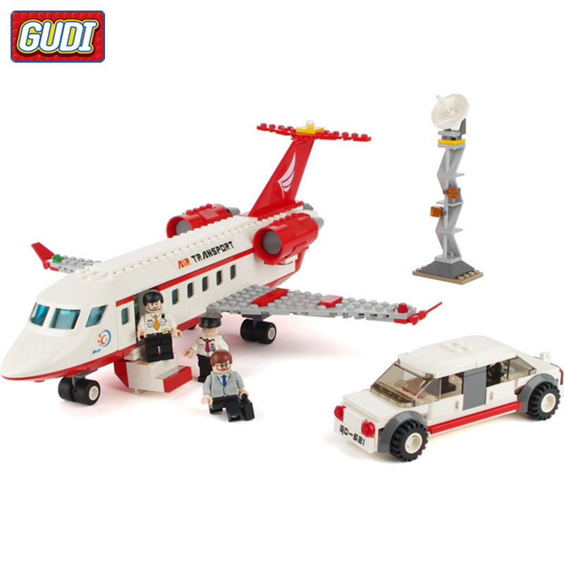 GUDI 334pcs City Airport Model VIP Airplane Bus Building Blocks Sets Model DIY Bricks Classic Boys Toys Compatible Major Brands city airport vip private plane blocks bricks building technic christmas toys for children compatible with legoeinglys lepin 8911