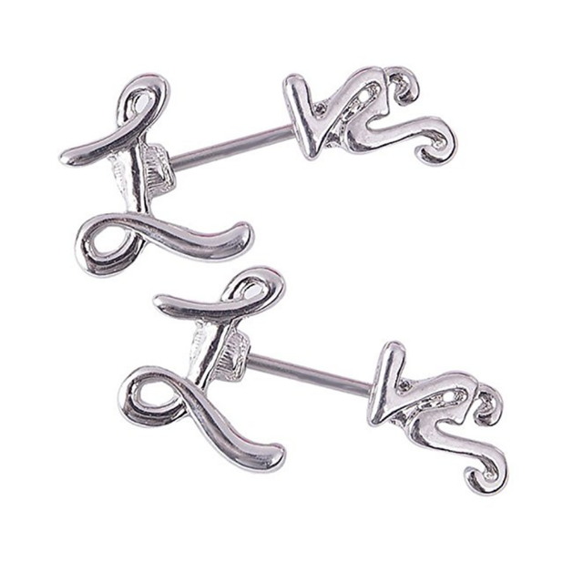 Cute Letter Leopard 14g Straight Bar Barbell Shields 2Pcs Nipple