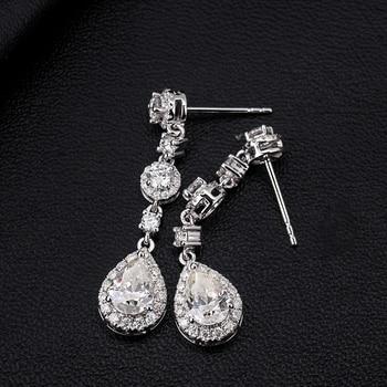 Classic Engagement Party Jewelry 18k White Gold Pear Shape Moissanite Diamond Wedding Long Dangle Earring for Women 5