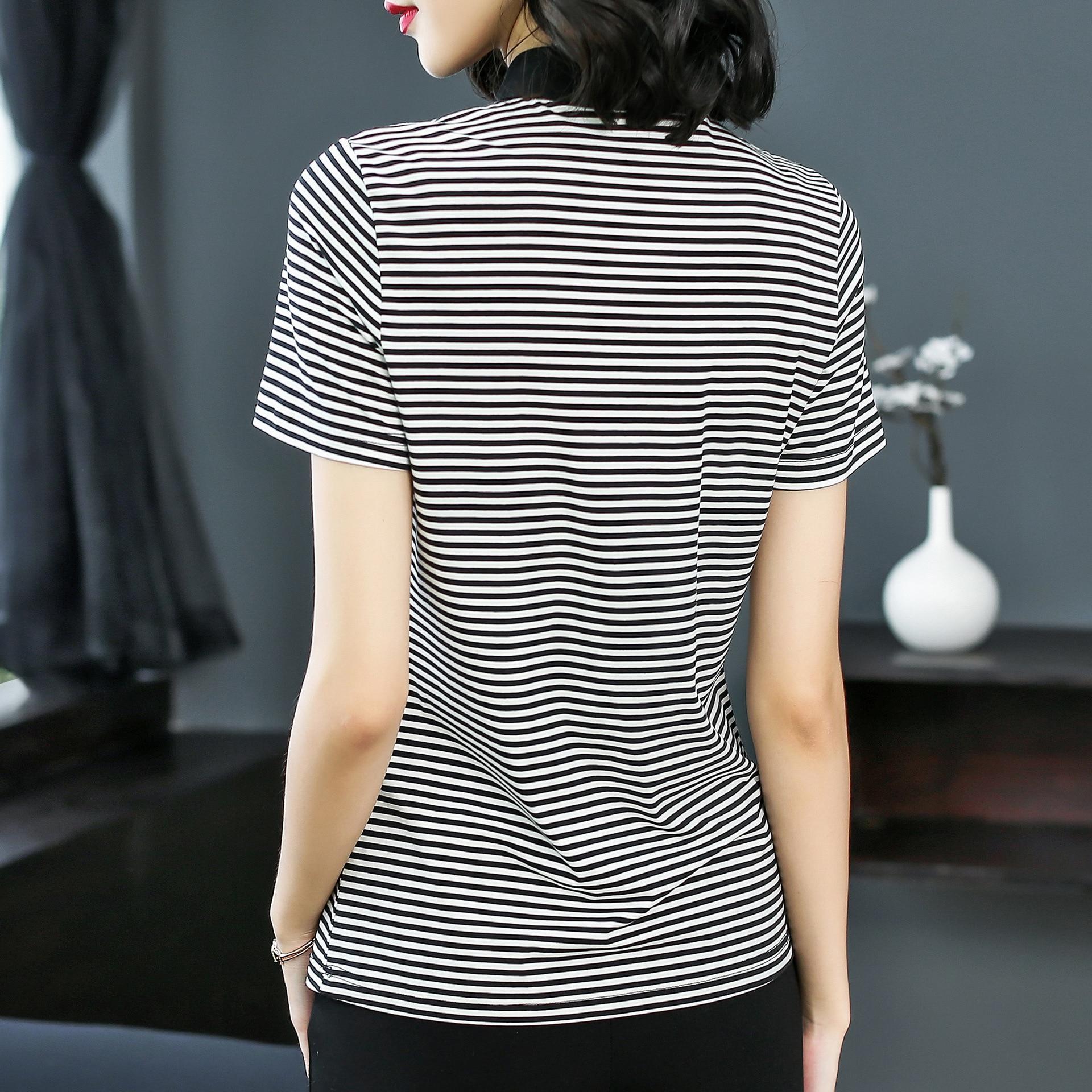De Camisetas Moda Mujer Turn Europa Dulces Verano Calle Camisas Collar Mujeres Down Stripe Camiseta blanco negro 2018 Suelta Lentejuelas Alta Patchwork Tops UxxBYEF