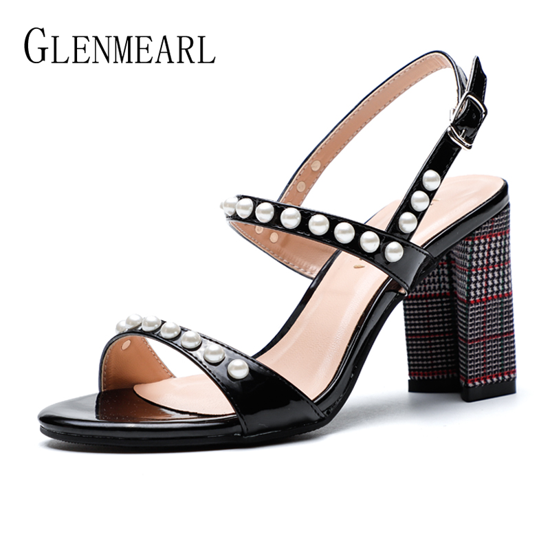 Brand Women Summer Shoes High Heels Pearl Sandals Woman Elegant Thick Heel Open Toes Black Red Party Shoes Female Single 2018 DE bicolor women high heels sandals thick platform shoes woman luxury summer party wedding shoes super sandal female open toes shoe