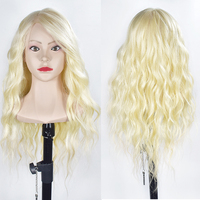 Female 70cm Hair Training Head With Shoulders Blonde Hair Nice Face Hairstyles Dummy Doll Mannequin Head For Hairdresser