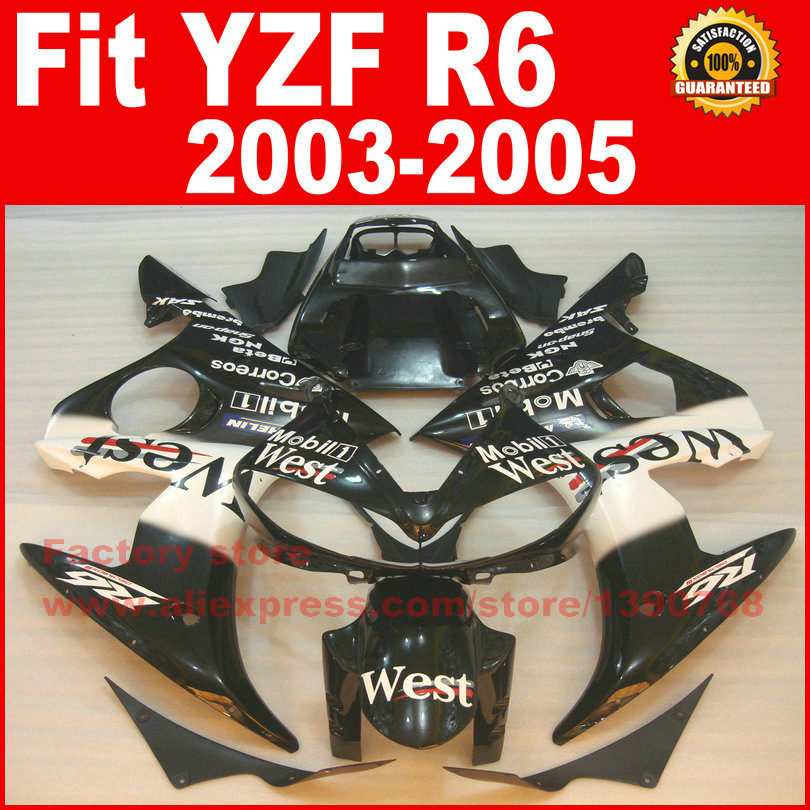 NEW HOT Body parts for YAMAHA R6 fairing kits 2003 2004 2005 WEST black YZF R6 fairing kit 03 04 05 hot sales yzf600 r6 08 14 set for yamaha r6 fairing kit 2008 2014 red and white bodywork fairings injection molding