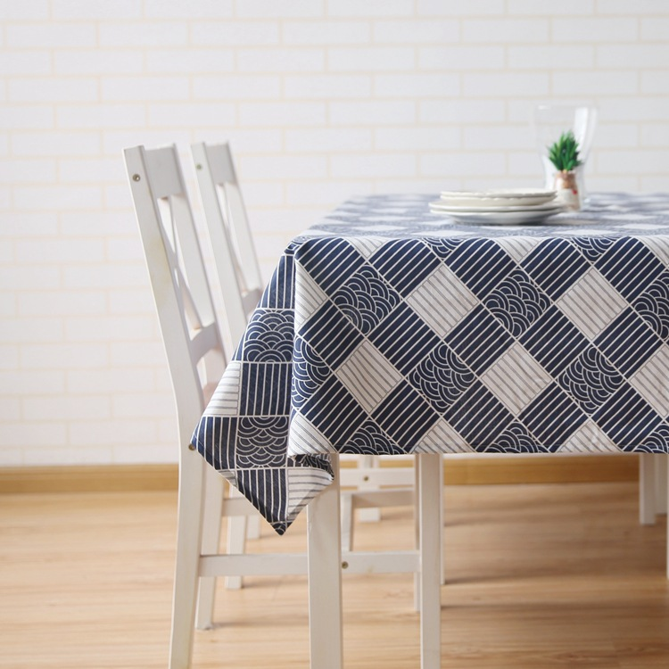 Japanese Table Cloth on The Table Mianma Rectangular Square Lattice Tablecloth Coffee Table Covers Home Restaurant