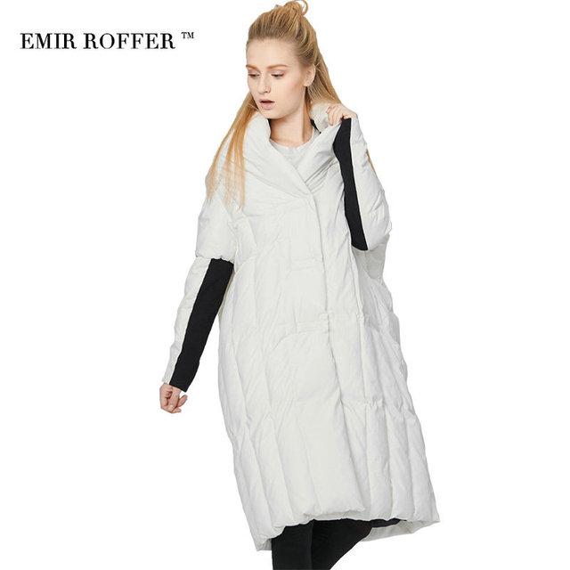 EMIR ROFFER 2017 italia moda de Las Mujeres abajo chaqueta de invierno de gran tamaño de pato blanco abajo largo acolchado parka femenina abrigo outwear