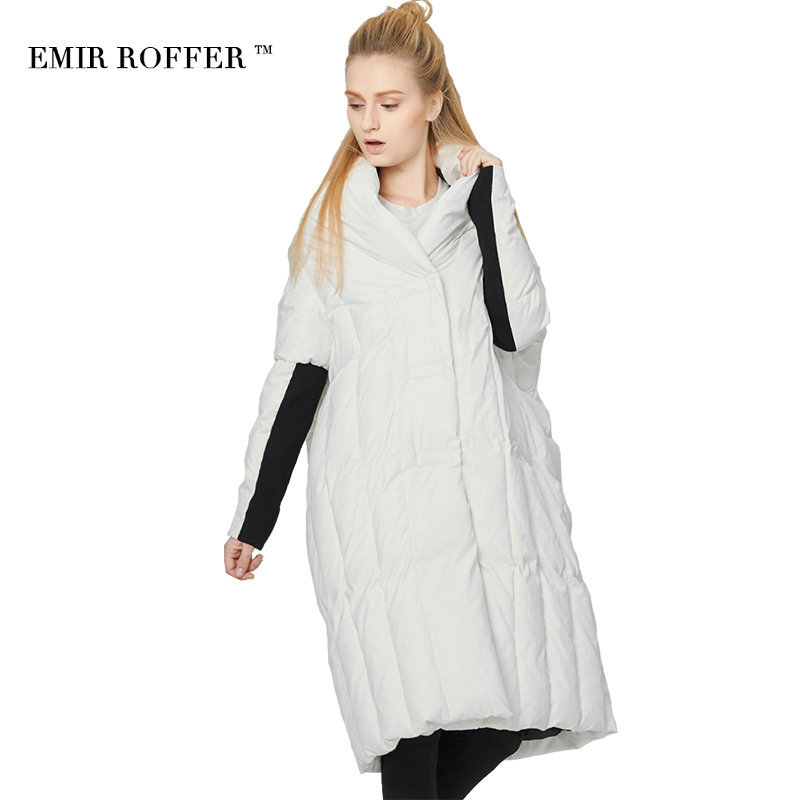 EMIR ROFFER 2018 Italy Fashion Womens Down Jacket Winter Large Size White Duck Down Long Quilted Coat Female Parka Outwear