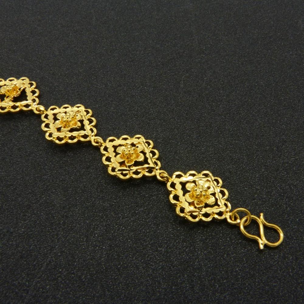 620f563d0f00 € 5.88 35% de DESCUENTO Filigrana cuadrado flor pulsera oro amarillo lleno  novia pulsera de cadena de las mujeres en Cadena y del Acoplamiento ...