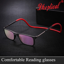 Фотография Upgraded Unisex Magnetic Reading Glasses Men Women Adjustable Hanging Neck Folding Glasses Front Connect Magnetic Eyeglass