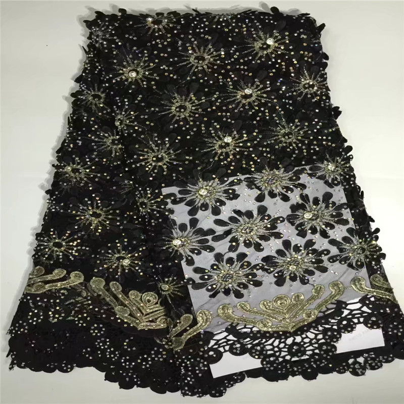 Black African Lace Fabric 2018 High Quality Lace Nigerian Lace Fabric With Stones Embroidery Tulle French
