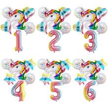 6pcs/lot Rainbow Gradient Unicorn Balloon 32 inch Number Birthday Party Decorations Kids Wedding Balloons Globos
