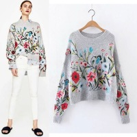 Vintage Retro Ethnic Bohemian Hippie Boho Jumpers Ladies Embroidery Floral Round Neck Long Sleeve Loose Sweater Women Pullover