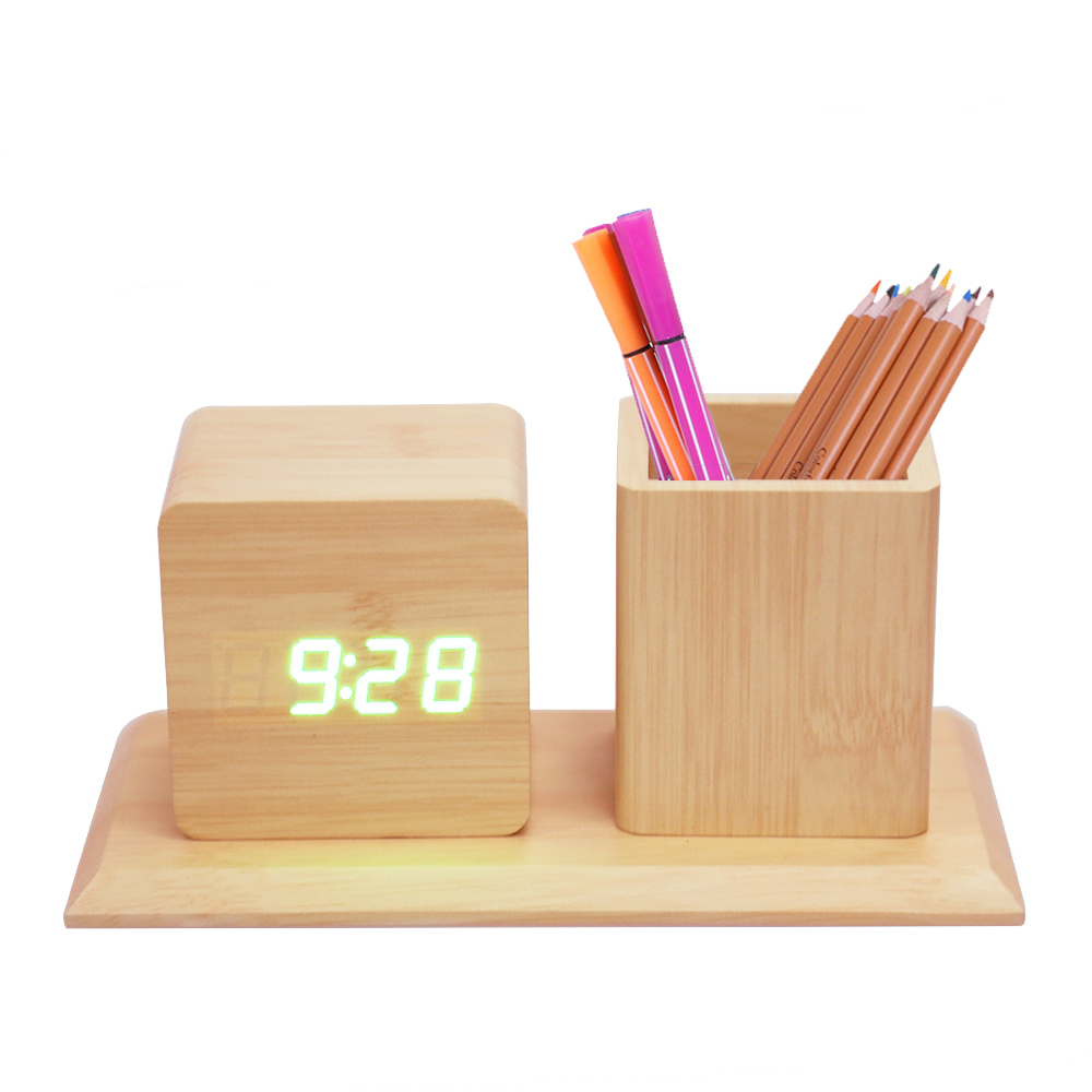 New Voice Control Wooden Alarm Clock With Pen Container Green Light LCD Display Electronic Digital Table Calendar Thermome Clock